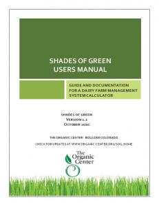 SHADES OF GREEN USERS MANUAL - The Organic Center
