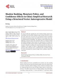 Shadow Banking, Monetary Policy, and Confidence Effects in China