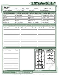 Shadowrun Fourth Edition Character Sheet - Deckeon
