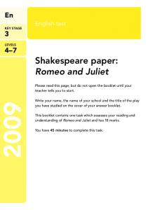 Shakespeare paper: Romeo and Juliet