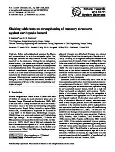 Shaking table tests on strengthening of masonry structures against ...