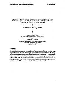 Shannon Entropy as an Intrinsic Target Property: Toward a ...