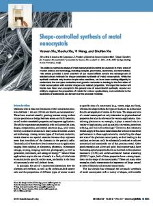 Shape-controlled synthesis of metal nanocrystals