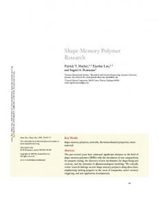 Shape Memory Polymer Research - Mather Research Group