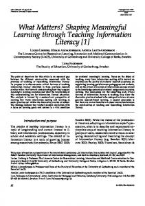 Shaping Meaningful Learning through Teaching Information Literacy