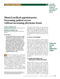 Shared medical appointments: Increasing patient access