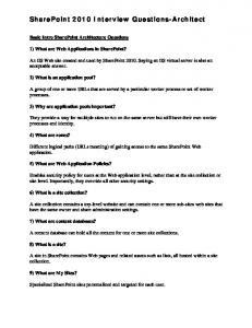 Sharepoint Interview Questions and Answers - NicheTalentFind