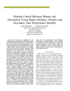 Sharing Control Between Human and Automation Using Haptic Interface
