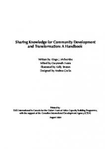Sharing Knowledge for Community Development and ... - safaids