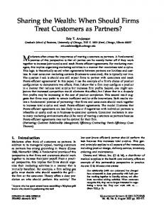 Sharing the Wealth: When Should Firms Treat Customers ... - CiteSeerX