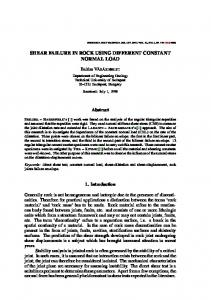 shear failure in rock using different constant normal load - Core