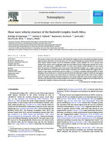 Shear wave velocity structure of the Bushveld Complex ... - AfricaArray