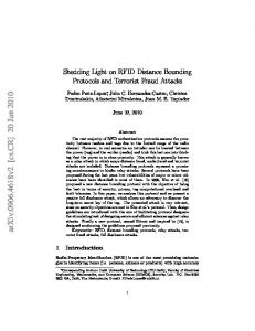 Shedding Light on RFID Distance Bounding Protocols and Terrorist ...