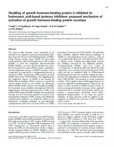 Shedding of growth hormone-binding protein is inhibited by ...
