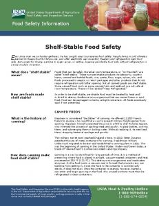 Shelf-Stable Food Safety - Food Safety and Inspection Service - US ...