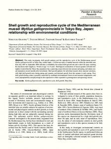 Shell growth and reproductive cycle of the Mediterranean mussel ...