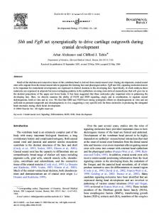 Shh and Fgf8 act synergistically to drive cartilage ... - Semantic Scholar