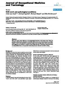 Shift work and pathological conditions
