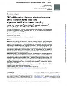 Shifted Hamming distance: a fast and accurate ... - Semantic Scholar