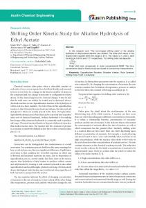 Shifting Order Kinetic Study for Alkaline Hydrolysis of ...