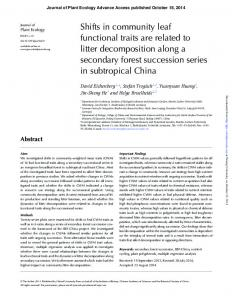 Shifts in community leaf functional traits are related to litter ...