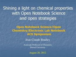 Shining a light on chemical properties with Open Notebook Science ...