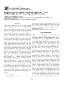 Short communication: Lying behavior of lactating dairy cows is ...