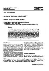 Short Communication Sorption of toxic heavy metals to soil*