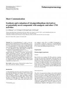 Short Communication Synthesis and evaluation of 2,6 ... - Springer Link
