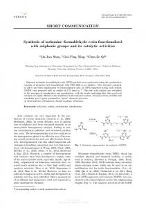 SHORT COMMUNICATION Synthesis of melamine ...