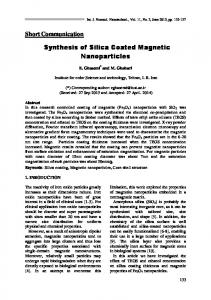 Short Communication Synthesis of Silica Coated Magnetic