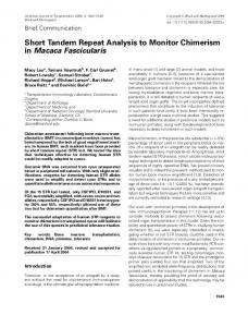 Short Tandem Repeat Analysis to Monitor ... - Wiley Online Library