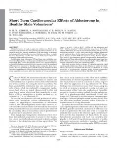 Short Term Cardiovascular Effects of Aldosterone in Healthy Male