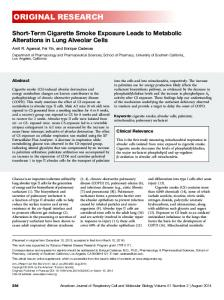 Short-Term Cigarette Smoke Exposure Leads to ... - ATS Journals