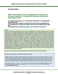 Short-Term Effects of the Management Intensities on ... - SAGE Journals