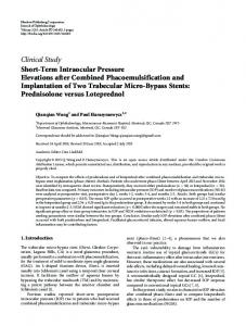 Short-Term Intraocular Pressure Elevations after Combined ...