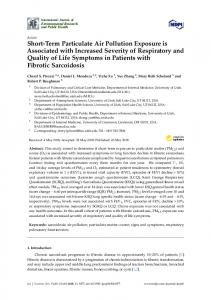Short-Term Particulate Air Pollution Exposure is Associated ... - MDPI