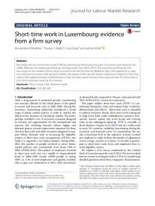 Short-time work in Luxembourg: evidence from a firm survey