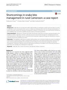 Shortcomings in snake bite management in rural Cameroon: a case ...