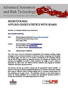 SHORTCOURSE: APPLIED GEOSTATISTICS WITH SGeMS - Ufrgs