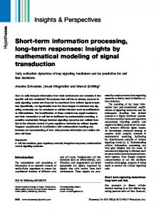 Shortterm information processing, longterm ... - Wiley Online Library