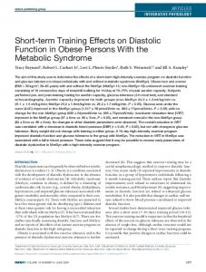 Shortterm Training Effects on Diastolic Function ... - Wiley Online Library