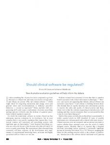Should clinical software be regulated?