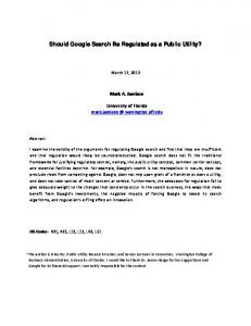 Should Google Search Be Regulated as a Public Utility? - Warrington ...