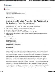 Should Health Care Providers be Accountable for