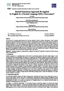 Should Humanism Approach Be Applied in English as a Second ...