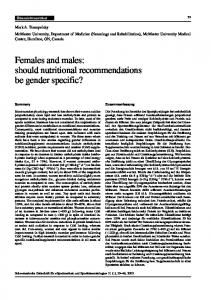 should nutritional recommendations be gender specific? - SGSM ...