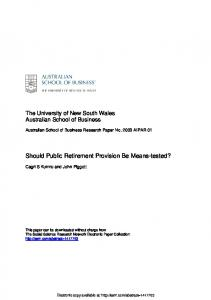 Should Public Retirement Provision Be Means-tested?