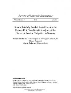 Should Publicly Funded Postal Services be Reduced? A Cost-Benefit ...