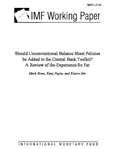 Should Unconventional Balance Sheet Policies be Added to the - IMF
